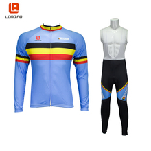 LONGAO Breathable Long Sleeve Road Bike Bicycle Jersey and Tights 3D Gel Paded Men's Cycling Jersey Clothing Sets nuckily summer mens bicycle apparel breathable phoenix eyes long sleeve cycling jersey with tights suit mc010md010