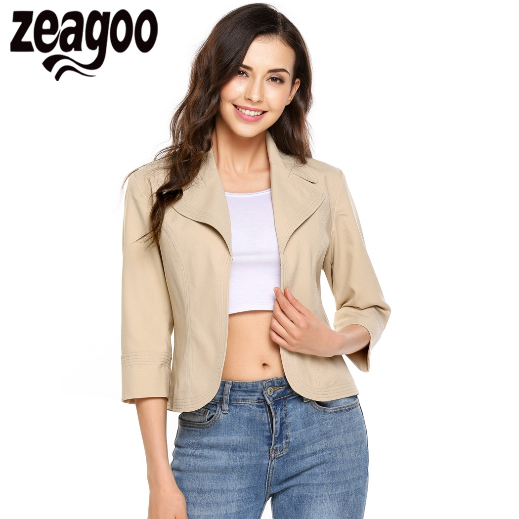 Zeagoo 2017 New Women Casual Turn Down Collar Lightweight 3/4 Sleeve Solid Fitted Open Blazer Autumn Winter Jacket Coat casaco