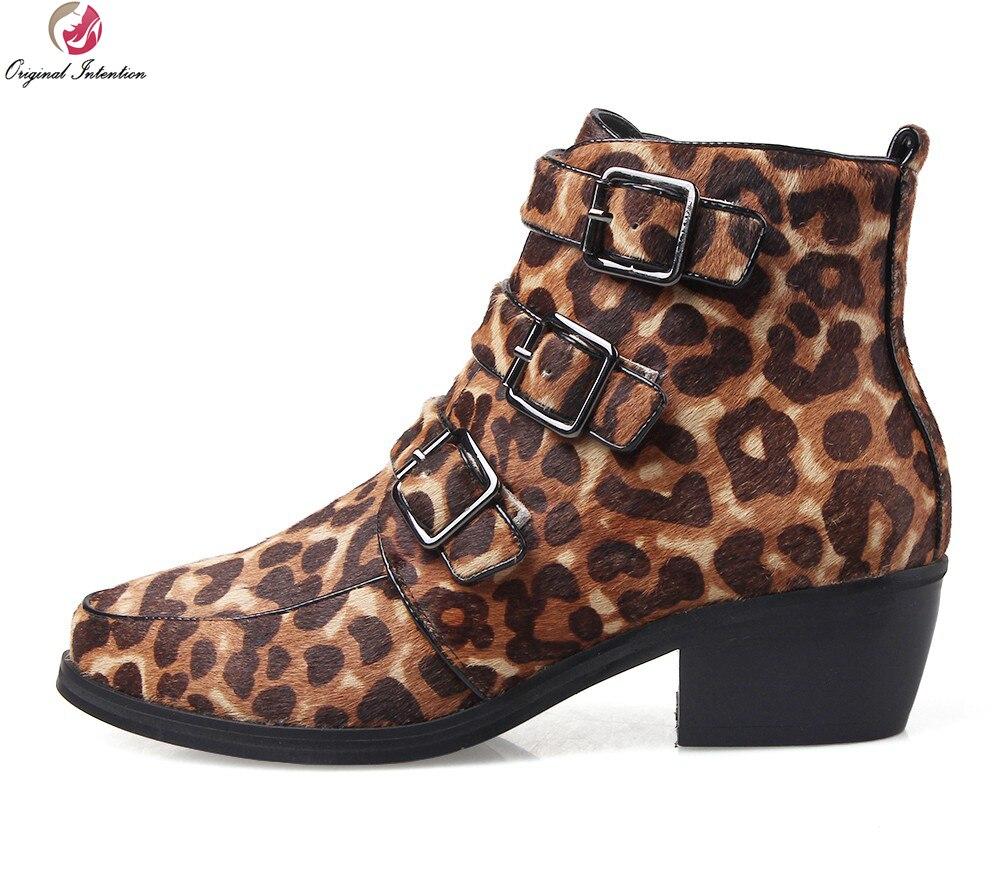 buy online f358b 5ed9e US $53.94 35% OFF|Ursprüngliche Absicht Hochwertige Frauen Stiefeletten  Spitz Quadratische Fersen Schöne Schwarz Rot Leopard Schuhe Frau Größe 3,5  ...
