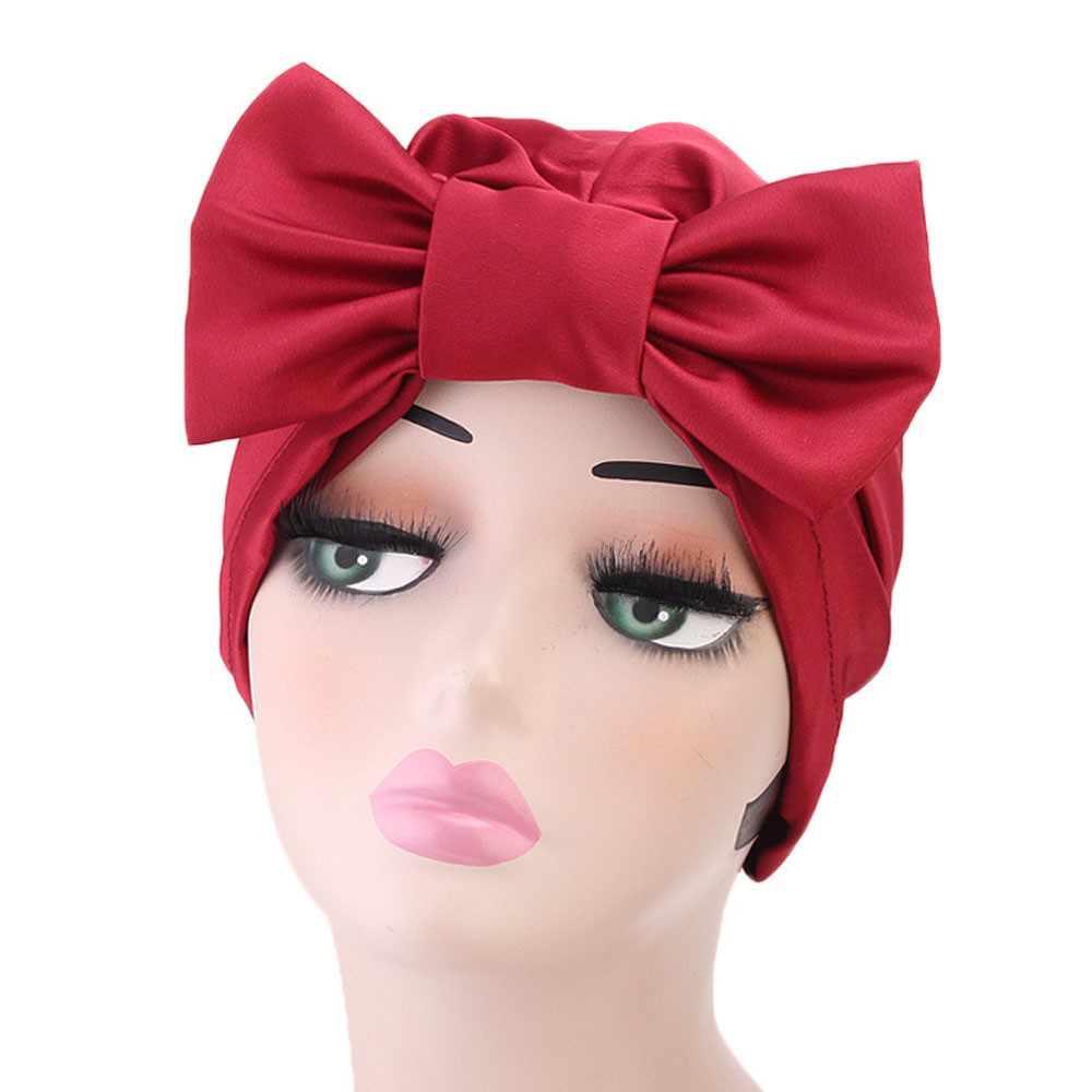b6d6b5b51b31b0 Women Solid Bow Hat Women Ladies Retro Turban Brim Hat Cap Pile Cap Fashion Accessories  cute hat in women's accessories