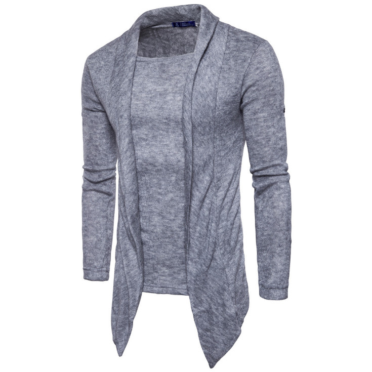 Europe and America Fake 2 pieces Knitwear New Personality Solid Color Knitted Pullovers Men Fashion Sweaters Male US Size S-XXL
