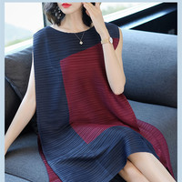 Olddnew Issey Miyake Summer New 2019 Women Fashion Patchwork Tank Dress Womens Round Neck Sleeveless Loose Pleated Dresses Red