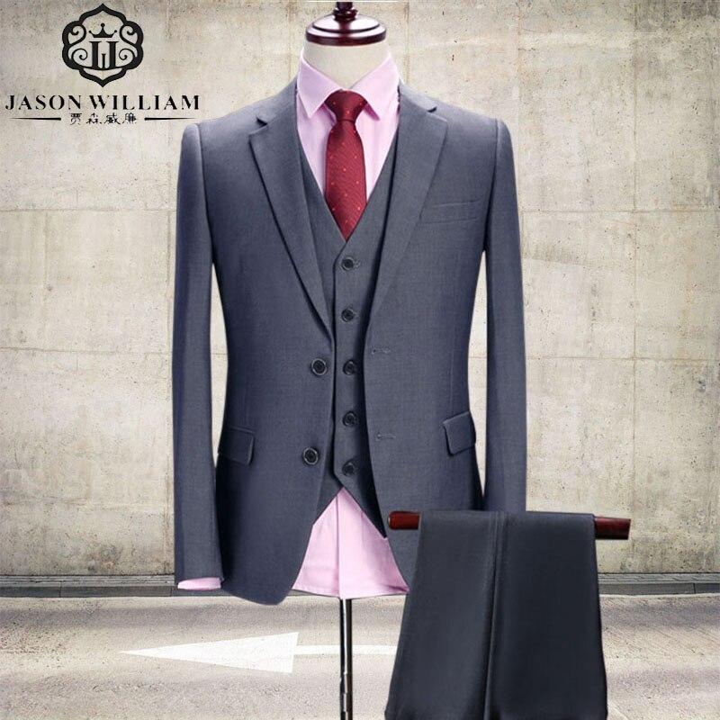 Jason William – Gray Wedding Tuxedo Custom Made Suit, 3 Pieces ...