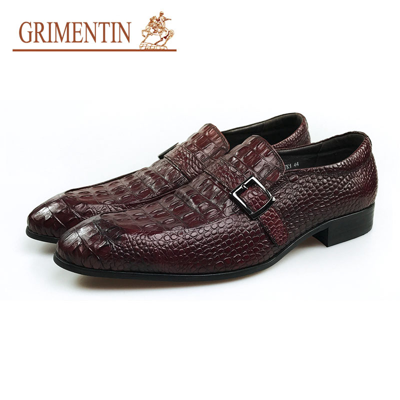 GRIMENTIN Luxury Buckle Shoes Men Italian Classic Genuine Leather Slip On Formal Business Shoes buckle slip on wedges