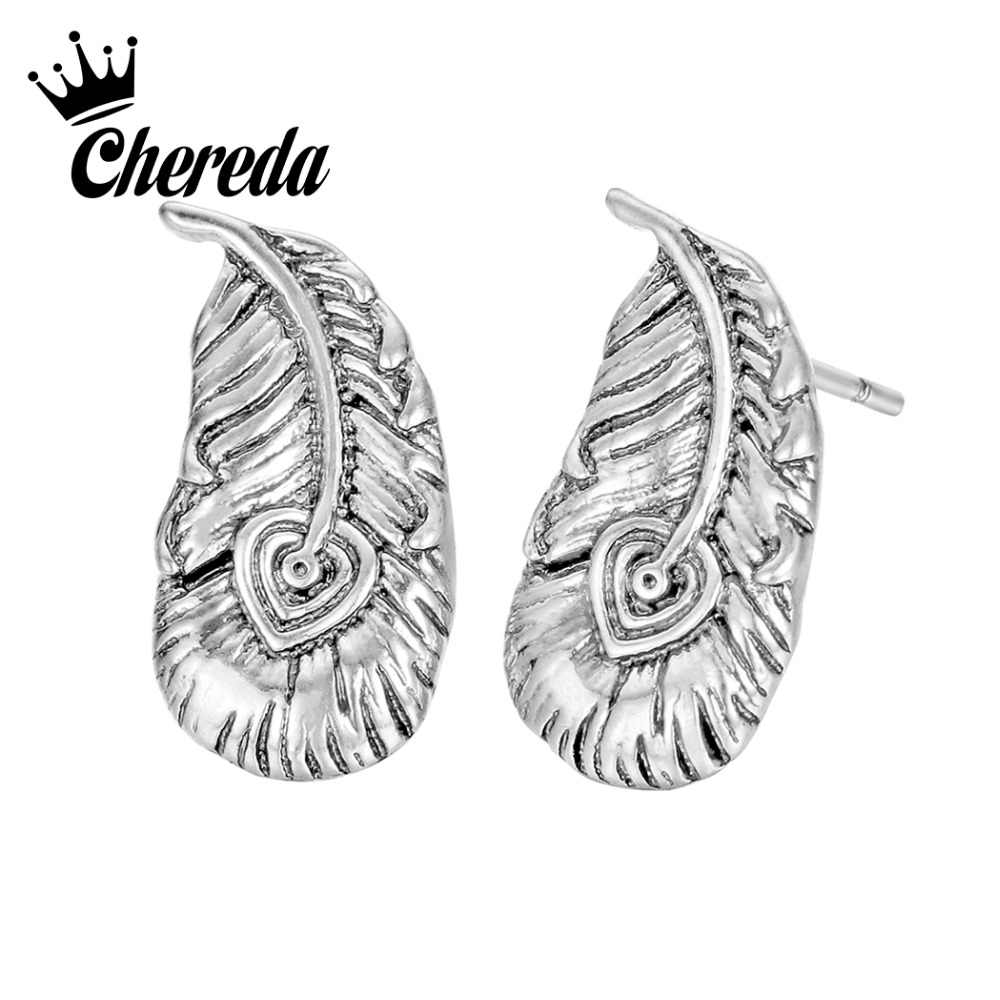 Chereda Ancient Undead Feather Viking Stud Earring Male Metal Pray Earrings Antique Vintage Jewelry Gift Boucle d'oreille