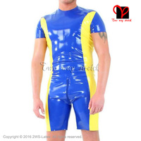 Two Color Sexy Latex Jumpsuit with zippers Sexy Zentai Unitard overall Latex Catsuit rubber catsuit romper XXXL plus size LT 130