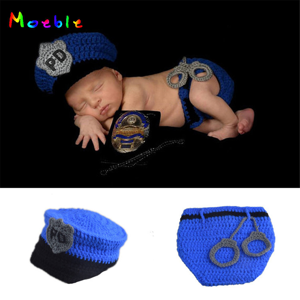 Top Sale Newborn BABY Police Costume Crochet Infant Baby Police Photography Props Newborn Policema Hat Diaper Set MZS-15067 large format printer spare parts wit color mutoh lecai locor xenons block slider qeh20ca linear guide slider 1pc