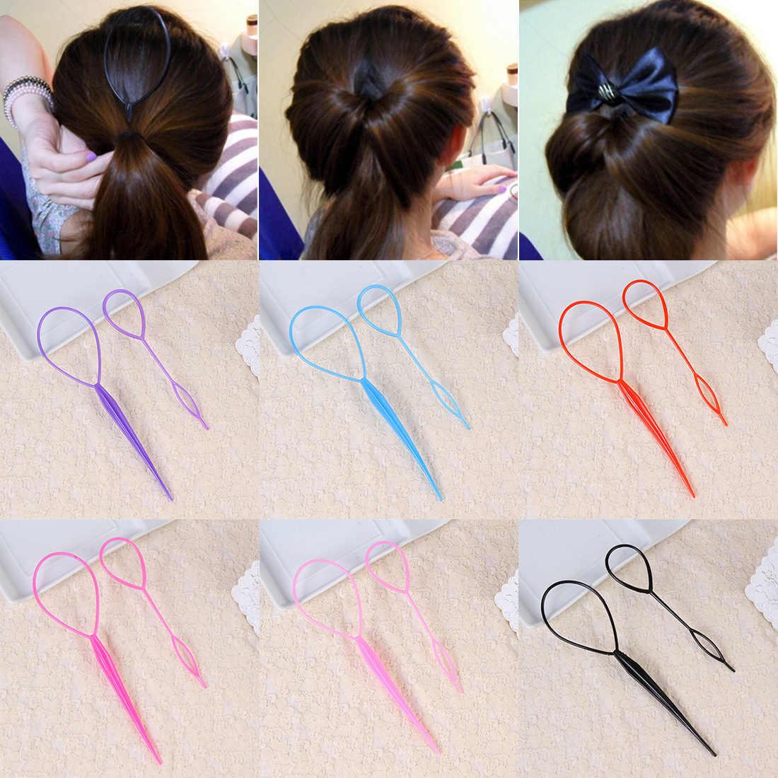 Multicolor pelo peinado tirar del pelo aguja de cola de caballo de Pelo trenzado creador bucle de cola Clip de uso en el hogar DIY peluquería herramientas