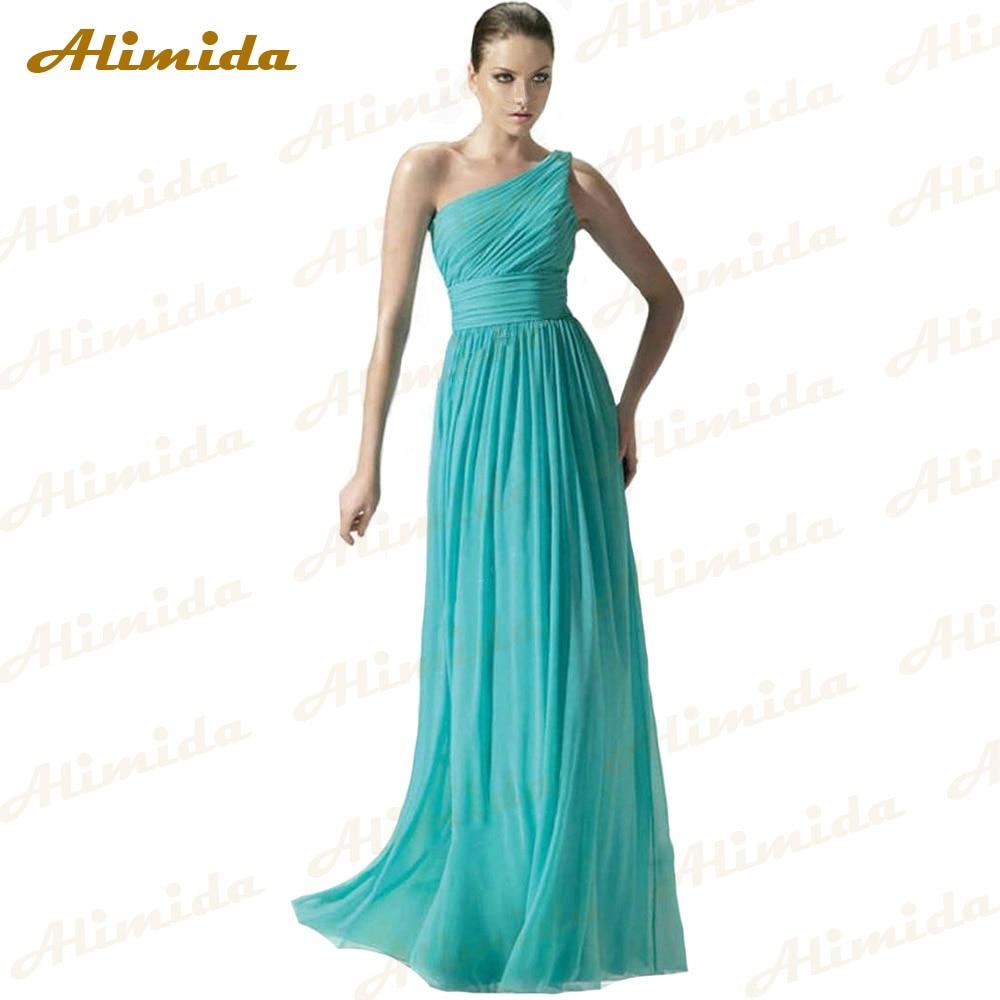 ALIMIDA New Design One Shoulder Chiffon Long Bridesmaid