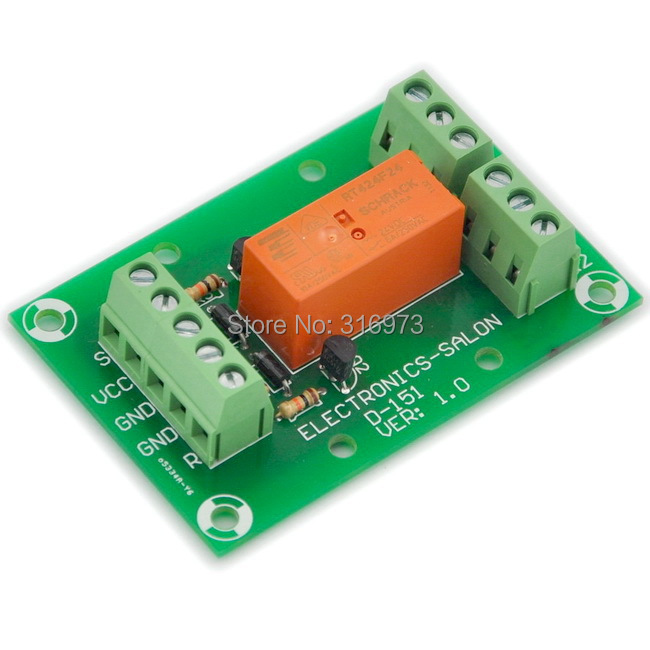 Bistable/Latching DPDT 8 Amp Power Relay Module, DC24V Coil,  RT424F24