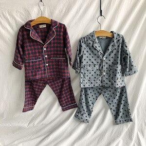 Image 5 - Autumn Winter boys girls fashion cartoon Pajama Sets pure cotton long sleeve shirt +pants 2pcs suits kids children clothes sets