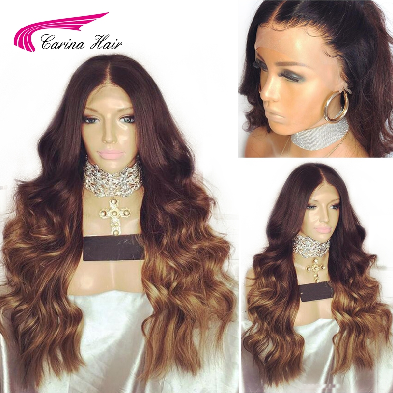 Carina Malaysian Body Wave 30# Color Lace Front Wigs with Baby Hair Remy Human Hair Lace Wigs Pre-plucked Hairline Glueless Wigs