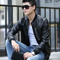 2017 Male Leather Clothing Slim Fashion Stand Collar Short Design Leather Jacket Outerwear Male Jacket