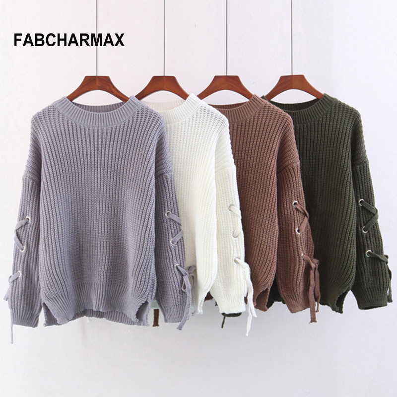 FABCHARMAX sweaters knitting pullover lace up sleeve autumn winter basic sweater women tops Casual hollow out jumper pull femme