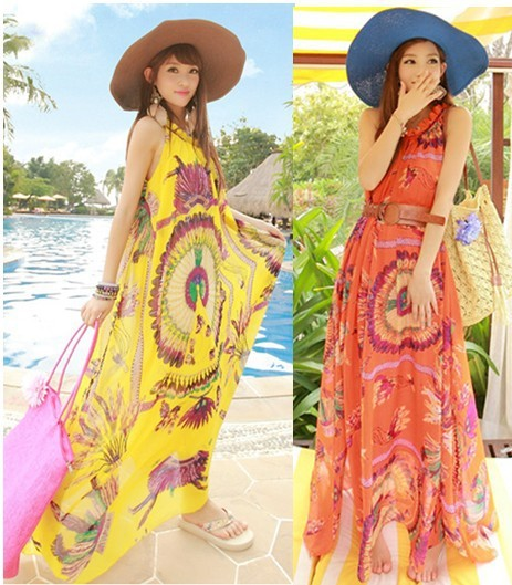 Maxi Dresses Women 2013 Fashion Bohemian Long Beach Dress Peacock Print Chiffon  Ladie's Branded Dress Skirts With Belt SS13D006