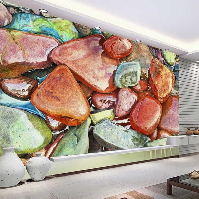 Papel pintado de foto personalizado 3D Color adoquinado suelo decoración Murale Autocollant PVC impermeable autoadhesivo adhesivo pared Mural