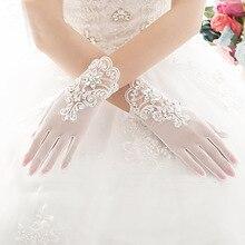 Bridal-Gloves Lace Crystal Elegant Women Short Wrist Finger Beaded Appliqued New-Arrival