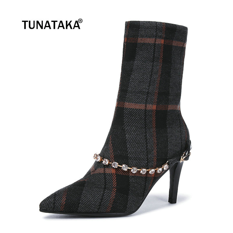 Women High Quality Buckle Thin Heel Ankle Boots Fashion Lattice Shoes Female Slip On Pointed Toe Fall Winter Bootie Black Gray women suede sexy thin high heel ankle boots fashion pointed toe slip on fall winter bootie black brown gray