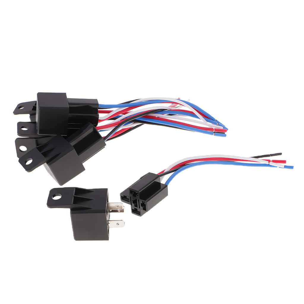 Relay 4 Pin Automotive Wire Harness Wiring Library Electrical Harnesses 5 Pieces Dc12v 40amp Car Spdt Wires Socket In
