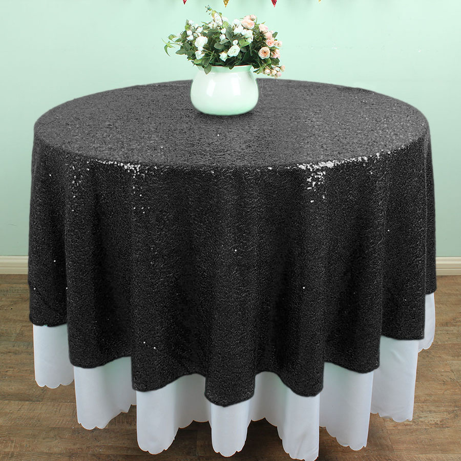 72 Inch Round Black Glitz Sequin Tablecloths Banquet Table