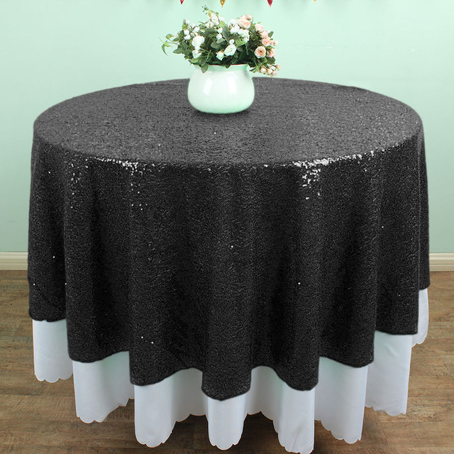 72 Inch Round BLACK Glitz Sequin TableCloths Banquet Table Linens Wedding  Cake Table Overlay Decoration