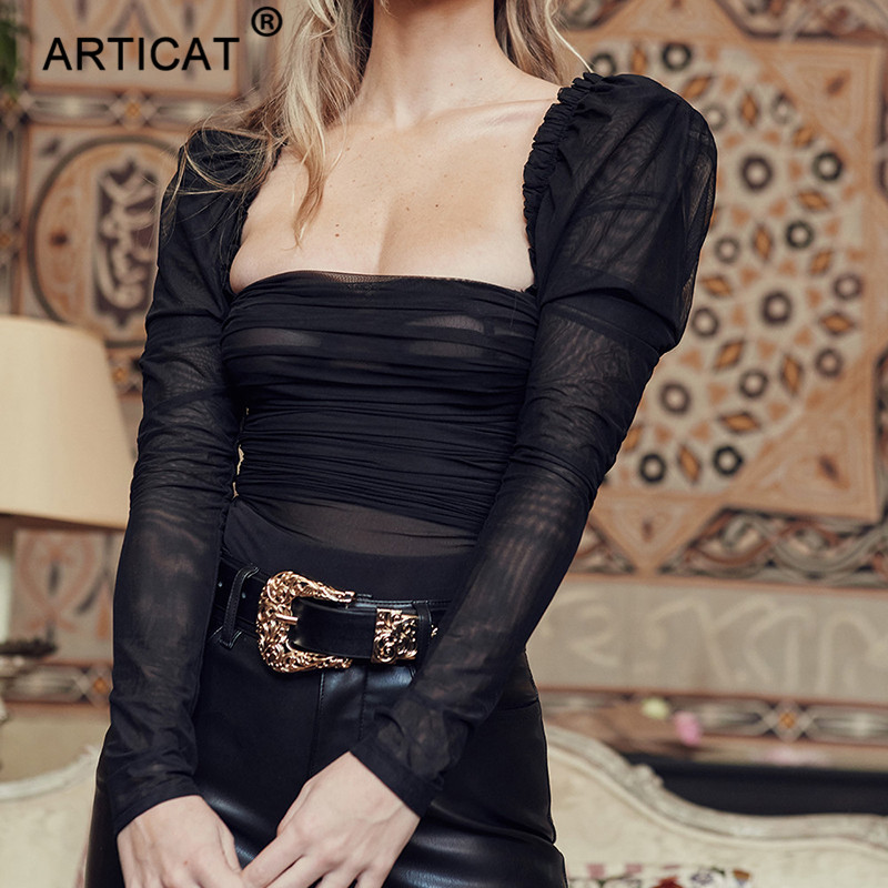Articat Black Transparent Mesh Sexy Bodysuit Women Strapless Long Sleeve Skinny Summer Rompers Womens Jumpsuit Casual Bodysuits