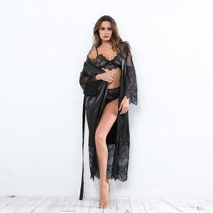 Image 3 - Ellolace Nachtwäsche Spitze Nachthemden Frauen Langarm Sexy Seide Nighty Große Hause Kleidung Mit Gürtel Robe Sets Negligés Großhandel