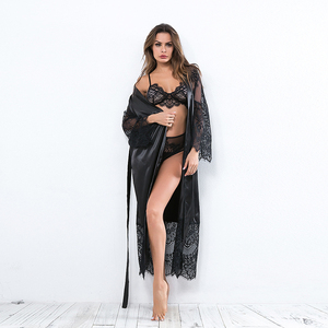 Image 3 - Ellolace vêtements de nuit dentelle chemises de nuit femmes à manches longues Sexy soie nuisette grande maison vêtements avec ceinture Robe ensembles nuisette en gros