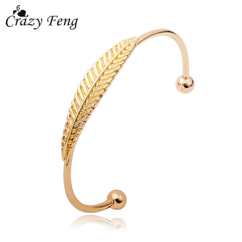 Bohemian Silver Gold Color Leaf Bracelets Bangles for Women Cuff Bracelets Metal Solid Color Boho Indian Statement Jewelry Gifts