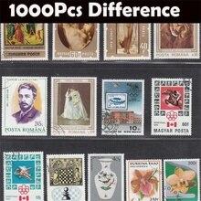 Timbres poste, sans répétition, Collection de nombreux pays, avec marquage Postal, Collection, 1000 pièces/lot