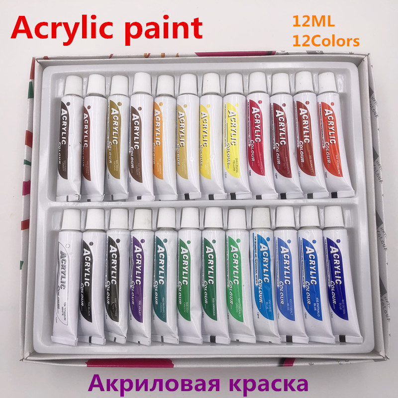 Professional 24 Colors 12ML Acrylic Paint Set Nail Art Painting Water Resistant Paint for Fabric Drawing Tools For Kids DIY цена
