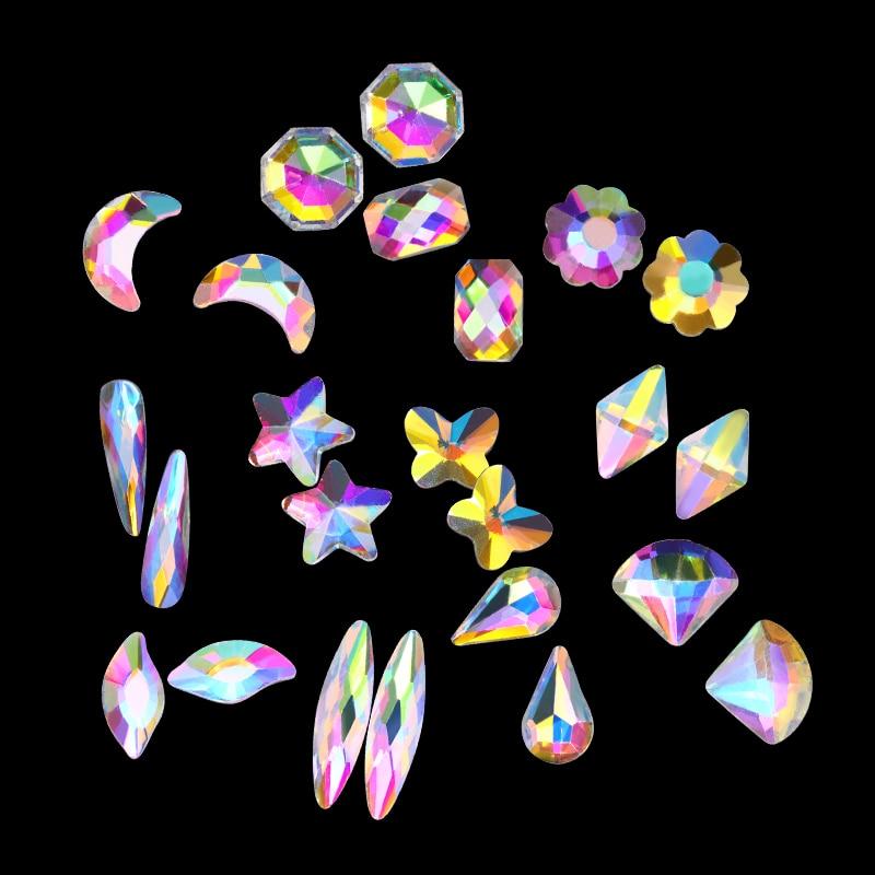 20pcs AB Color Nail Rhinestone Marquise Moon Star Flower Buts