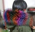 Ultralarge down coat fur collar genuine raccoon fur hood colorful fur trim  red winter women's
