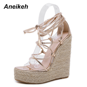 Image 3 - Aneikeh Leisure PVC Sandal Women Transparent Sandals Lace Up Wedges High Heels Thin Belt Solid Black Gold Party Daily Size 35 42