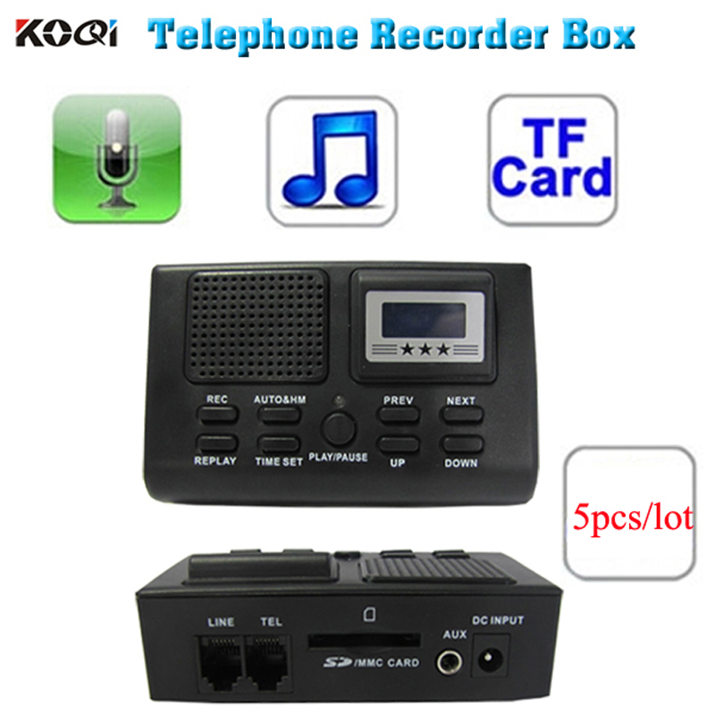 5PCS Black Telephone Conversation Dictaphone Voice Recorder
