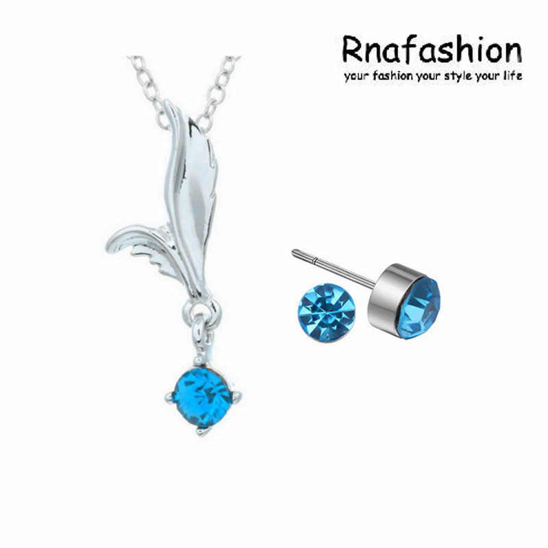 Simple Fashion austrian crystal Jewelry Set Trendy Jewerly Fairy Angels wings Pendant Necklace Jewellery