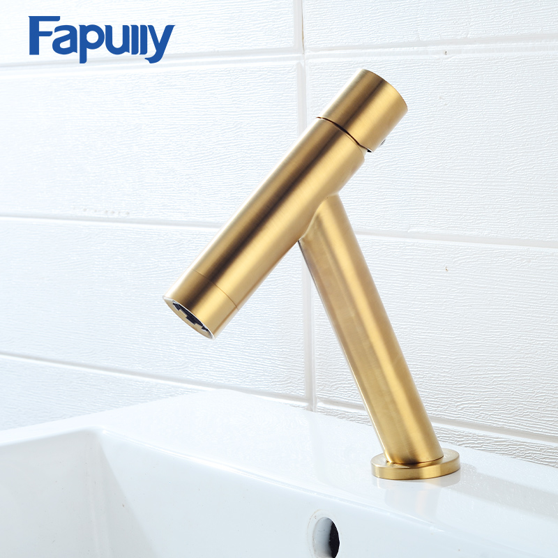 Fapully Brushed Gold Basin Faucet Black Taps Brass Simple T Design 7 Colors Single Handle Bath Sink Mixer Water Crane 1073 in Basin Faucets from Home Improvement