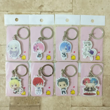8PCS/lot Re Zero Keychain Keyrings Ram/Rem Fashion Jewelry Key Chains Re Life In a Different Wor Custom made Anime Key Ring HS01