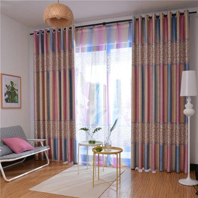 Stripes Shade Curtains Bedroom Tulle Custom Mediterranean Style Home Decor