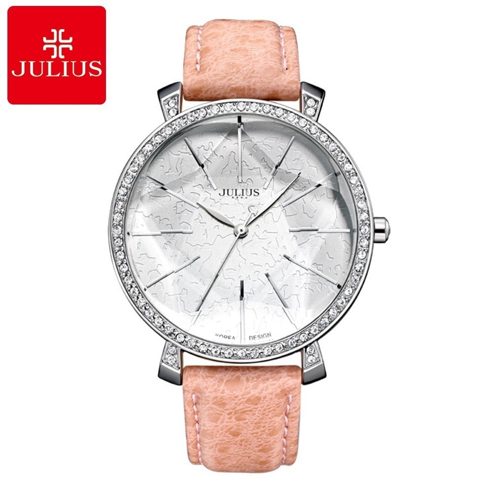 Women Genuine Leather Strap Watches Ladies Luxury Rhinestone Fashion Casual Quartz Round Analog Watch Julius Clock Waterproof duoya fashion luxury women gold watches casual bracelet wristwatch fabric rhinestone strap quartz ladies wrist watch clock