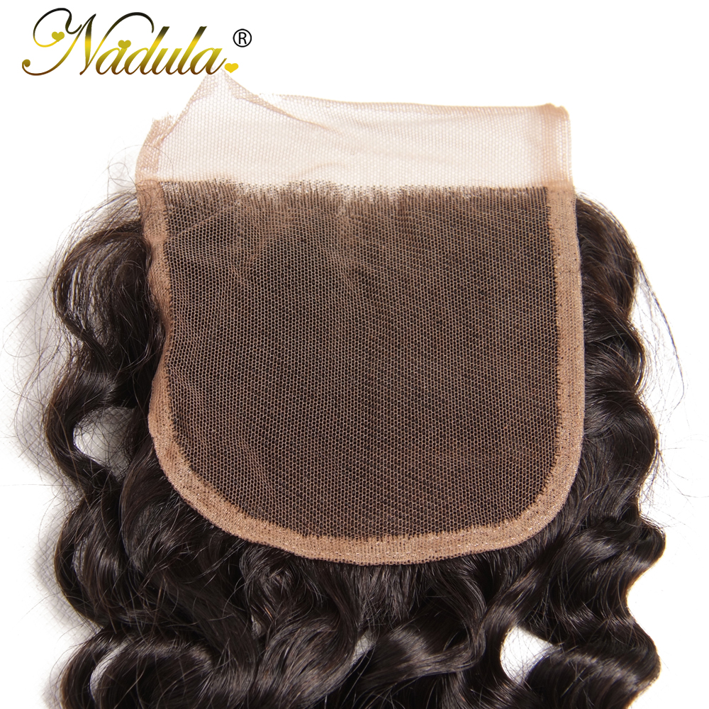 Nadula Hair  Deep Wave Bundles With Closure 10-28 inch 100%  s With Lace Closure Natural Color 6