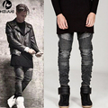 Fashion Designer Men Skinny Biker Jeans Joggers Pleated Hip Hop Swag Moto Black Grey Blue Denim slim fit Pants For Man