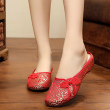 Spring summer fashion women Old Beijing embroidery home Slippers casual soft shoes mujer plus size 40