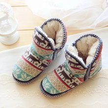 2016Women Winter Warm Cotton Fleece Shoes Soft Bottom Nonslip Indoor Boots Snowflake Deer Plush Warm Ankle Boots Free shipping