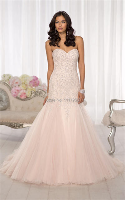 Free Shipping Blush Wedding Dress With Lace Corset 2014 Sweetheart ...