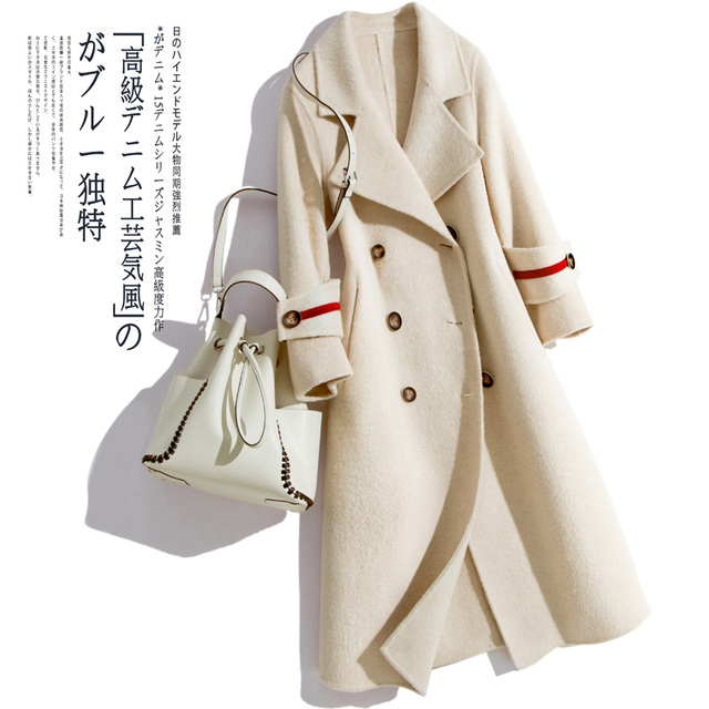 BELIARST Autumn and Winter Alpaca Coat Woman Long Section 2018 New Lapel Double-Breasted Double-Faced Woolen Coat Windbreaker