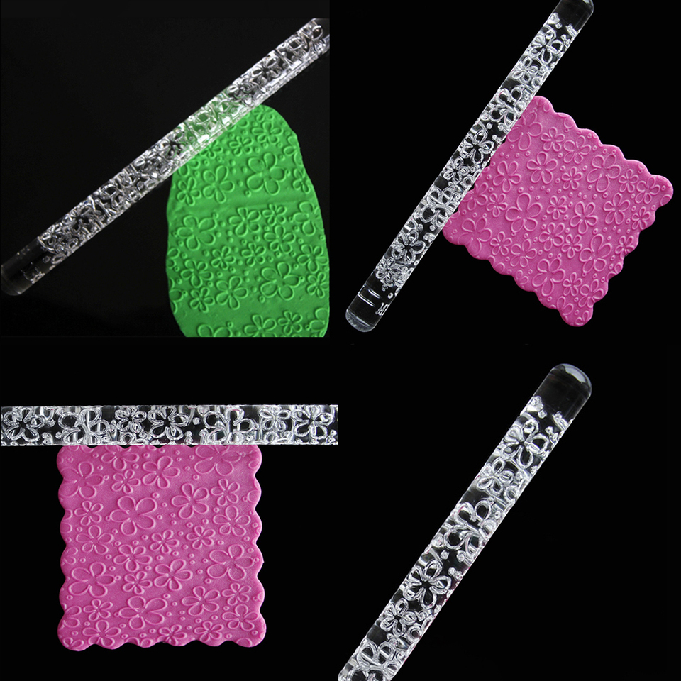 Non Stick Acrylic Rolling Pin Various Designs Embossing Cake Decorating Tools