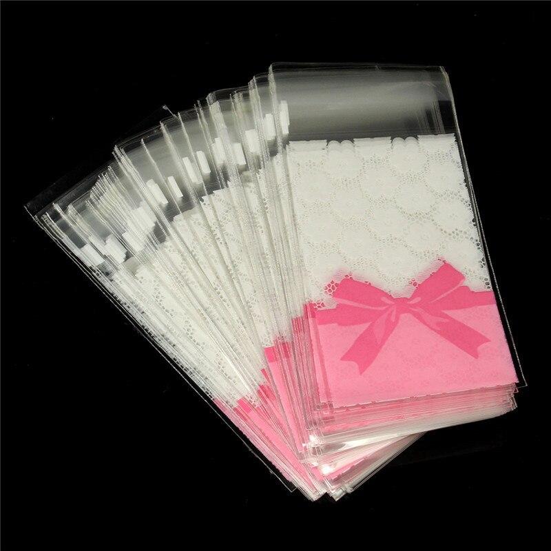 Acepta el Encargo de Alta Quality20pcs/lot 7*10 + 3 Mini de encaje de flores arco de regalo embalaje bolso del opp auto bolsas autoadhesivas bolsas de galletas de la galleta