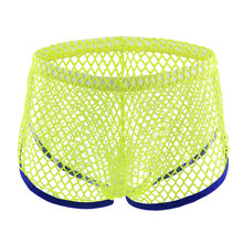 Sexy Men's Mesh Hollow Out Low-rise See Through Erotic Gay Underwear Lingerie Men Boxer Short Male Panties(China)