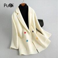 PUDI RO18017 2018 Women Fall Winter new fashion llama fur wool jacket colorful button lady long style pocket leisure coat